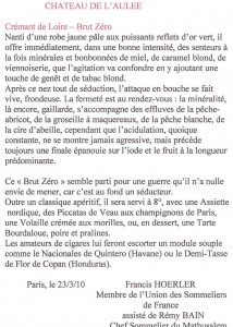 Article de Francis Hoerler sur le Crémant de Loire Brut Zéro